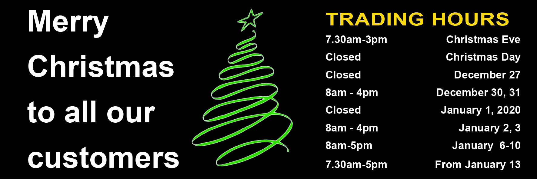 2019 trading hours