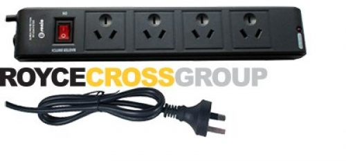 Four outlet master-switched black powerboard