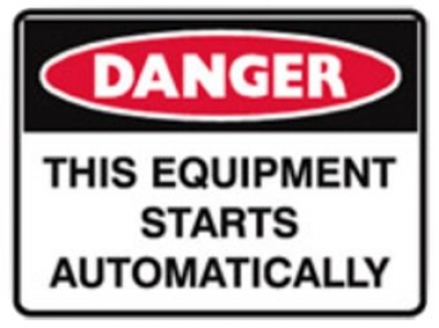 Danger Metal Sign - This Equipment Starts Automatically - H300 x W450mm