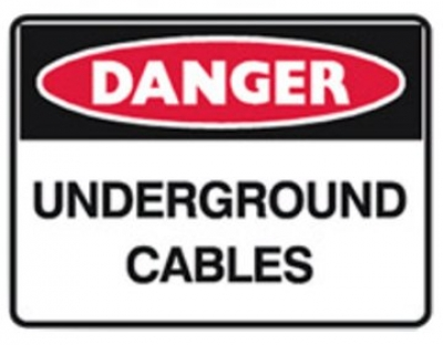 Danger Sign - Underground Cables - Metal - H300mm x W450mm