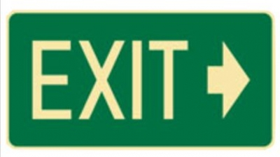 Exit Arrow Right Sign - H180mm x W350mm