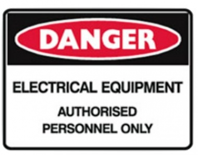Electrical Equipment Authorised Personnel Only Sign - H180mm x W250mm - Self Adh