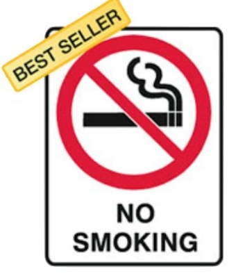 No Smoking Sign - H250mm x W180mm - Self Adhesive