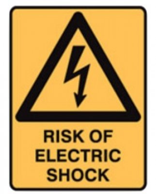 Warning Sign - Risk Of Electric Shock - H250mm x W180mm - Self Adhesive