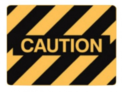 Caution polypropylene sign 600x450mm
