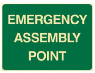 Emergency assembly point sign W450xH300mm poly