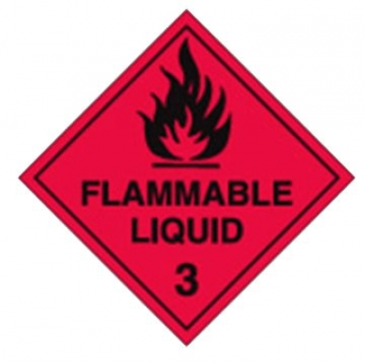 Flammable Liquid Class 3 Labels W100 x - H100mm - 25 Pack