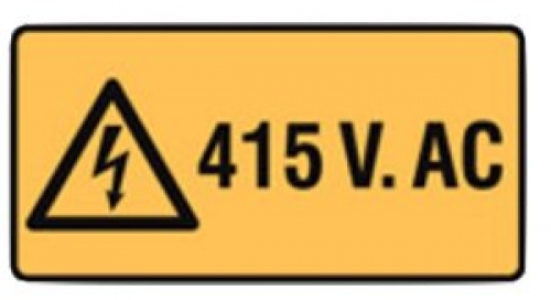 415 volts warning sign W50mmxH25mm - five pack