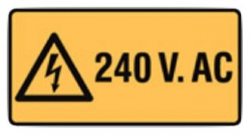 240 volts warning sign W50mmxH25mm - five pack