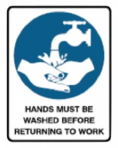 Hands must be washed before returning to work sign polypropylene 300mmx225mm