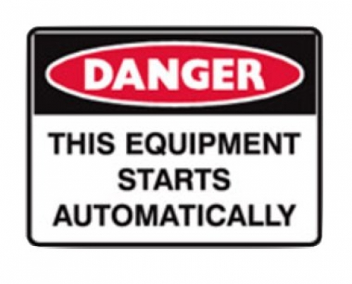 Danger - This equipment starts automatically sign