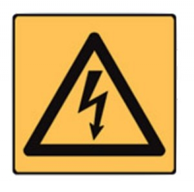 High voltage symbol warning label, 5-pack, H50mmxW50mm - self adhesive