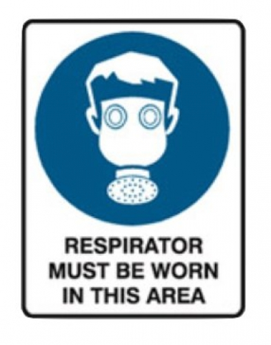 Respirators must be worn in this area poly sign 300x225mm