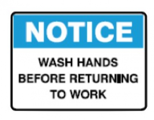 Wash hands before returning to work 180x250mm self-adhesive