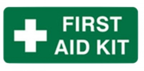 First aid kit safety sign poly 125x300mm
