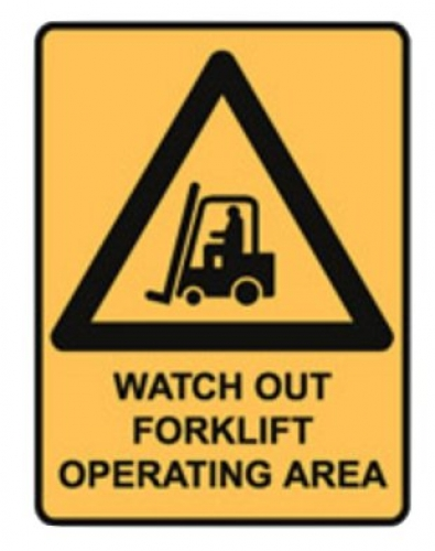 Watch out forklift operating area metal sign 450x600mm