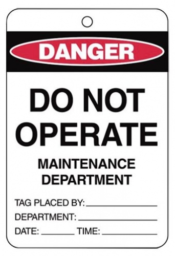 Danger Do Not Operate Maintenance Department Large Cardstock Tag
