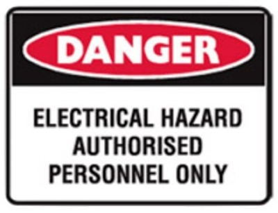 Danger Electrical Hazard Authorised Personnel Only Labels - H95mm x W125mm - 5 P