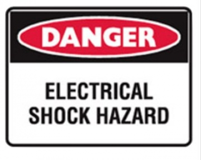 Danger Electrical Shock - Hazard Stick-On Labels - H95mm x W125mm - 5 Pack