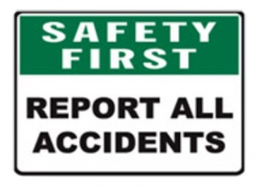 Report all accidents safety signs 300x450mm