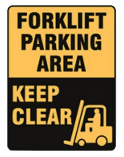 Forklift parking area keep clear metal sign 450x600mm