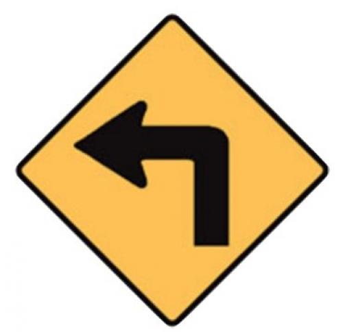 Left turn road sign - 600x600mm