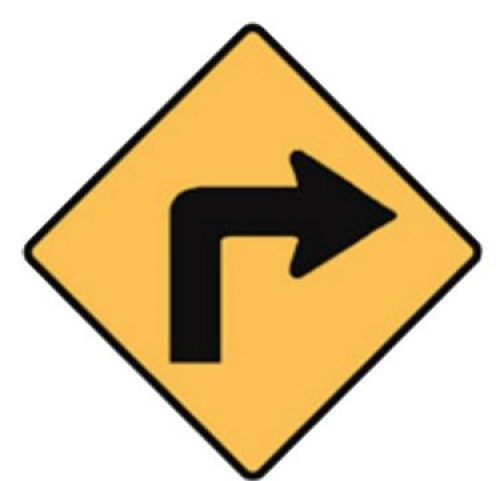 Right turn road sign - 600x600mm