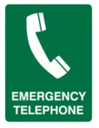 Emergency telephone poly sign 300x225mm