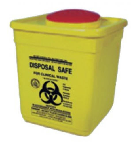 Square sharps disposal 2 litre container