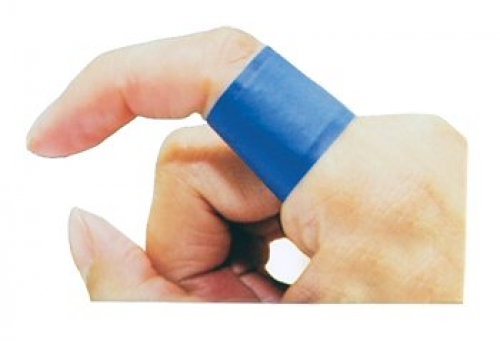 Detectable blue extra-wide adhesive strips