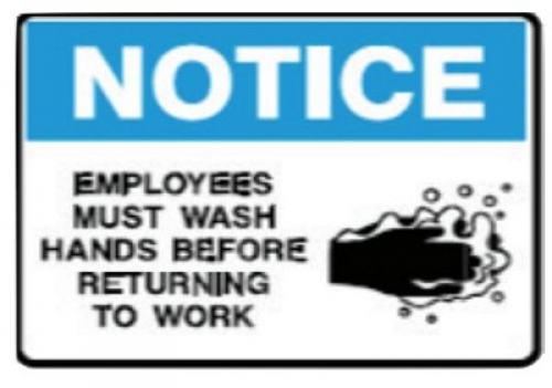 Employees must wash hands before returning to work 225x300mm poly sign