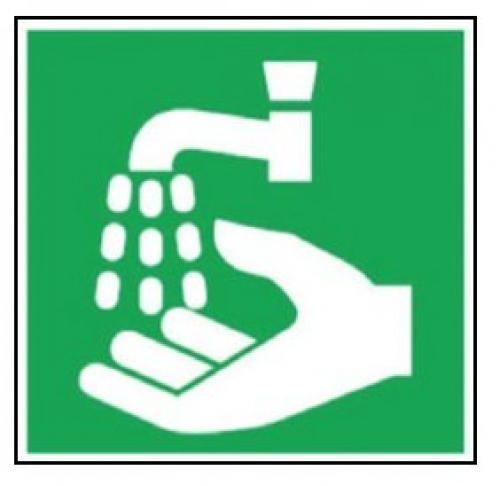 Graphic wash hands sign 200x200mm self-adhesive