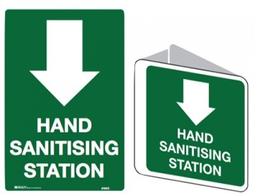 Hand sanitising station 225x225mm poly double-sided sign