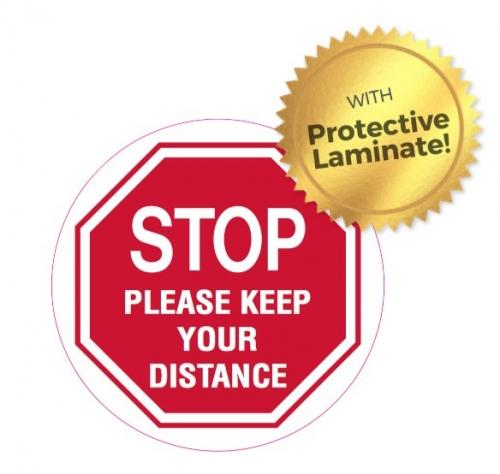 STOP please keep your distance floor marker 440mm