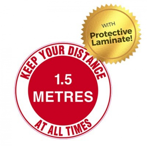 Keep your distance 1.5m at all times floor marker 440mm