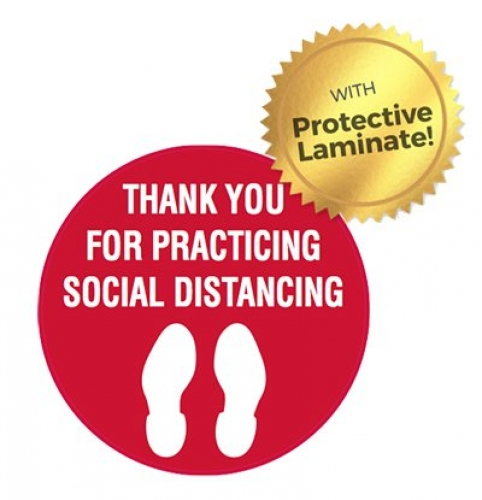 Thank you for practicing social distancing 440mm floor marker