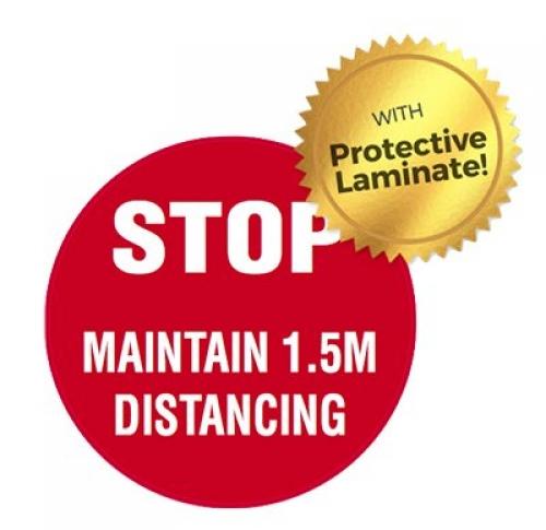 STOP maintain 1.5m distancing floor marker 440mm
