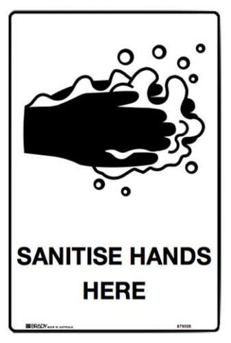 Sanitise hands here 250x180mm self-adhesive sign