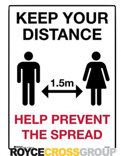 Keep your distance 1.5m 300x450mm flute sign