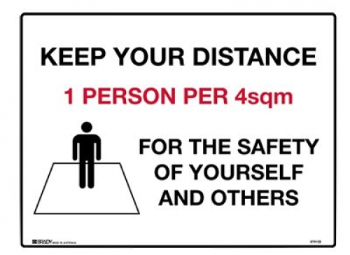Keep your distance 1 person per 4sqm 180x250mm labels