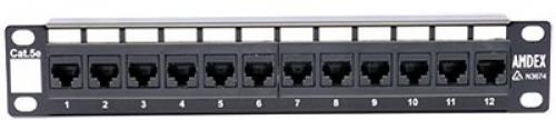 "10"" 1RU 12 Port Cat5E Patch Panel"