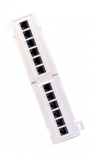 Cat 6 12-port wall-mount mini patch panel