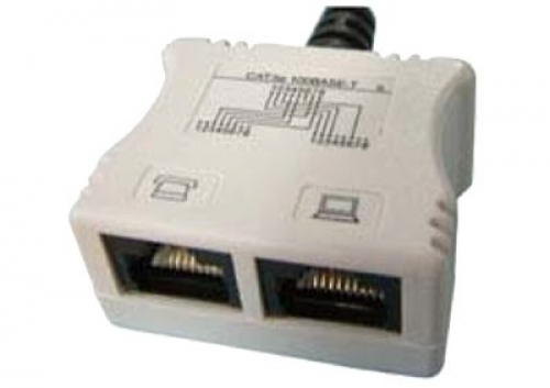 Cat 5e data/voice splitter with tail