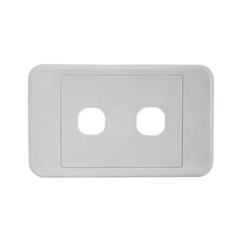 White two-port wall face plate