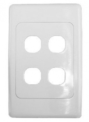 White four-port wall face plate