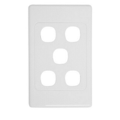 White five-port wall face plate