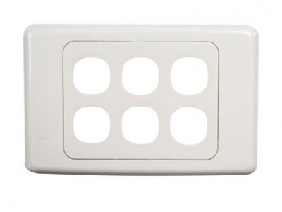 White six-port wall face plate