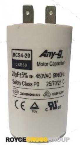Run capacitor 20uF 450V plastic (40x70) P0 with terminals