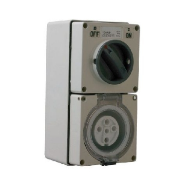 Three-phase combination switched socket outlet - 4-pin round, 20 amps