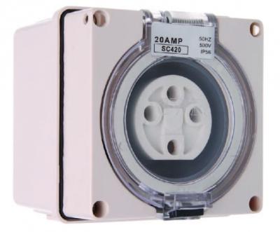 Socket Square Pulset 4 Pin 10A 3 Phase 415v IP56
